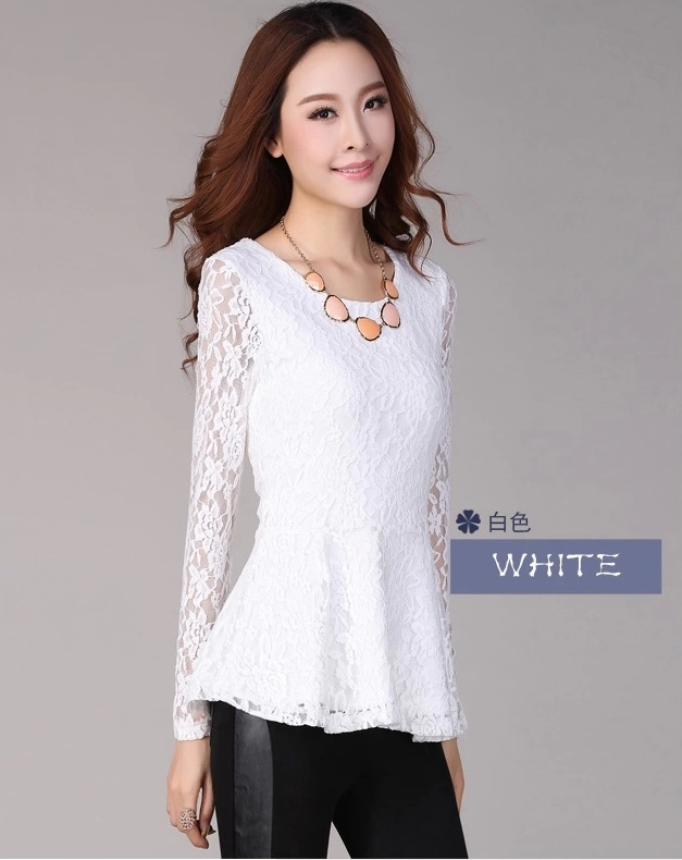 62e5394d1a531 Women Plus Size Long Sleeve Ruffle Peplum Lace Spring Autumn Blouse ...